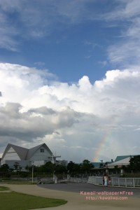 入道雲と虹のiPhone用壁紙画像1