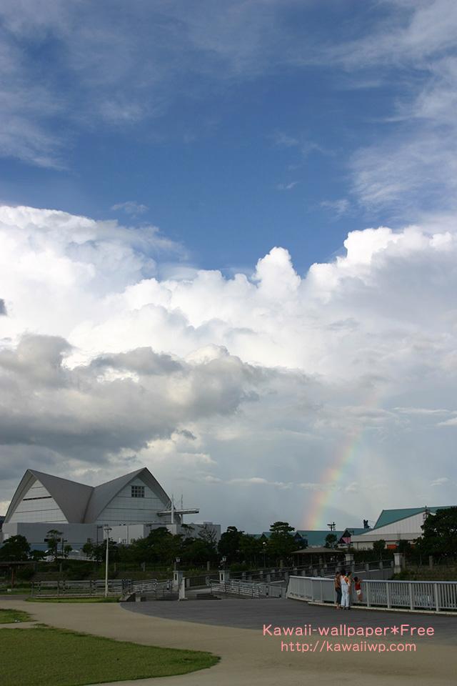 入道雲と虹のiPhone用壁紙